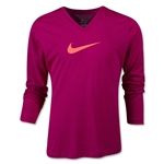 Nike Legend V-Neck Swoosh Fill Youth LS T-Shirt (Fuchsia)