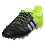 adidas ACE 15.1 FG/AG Junior Leather (Black/White/Solar Yellow)