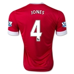Manchester United 15/16 JONES Authentic Home Soccer Jersey