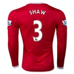 Manchester United 15/16 SHAW LS Home Soccer Jersey