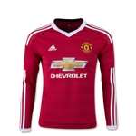 Manchester United 15/16 LS Youth Home Soccer Jersey