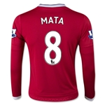 Manchester United 15/16 MATA LS Youth Home Soccer Jersey