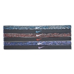 Nike Printed Headband Assorted 6 Pack 15 (Blk/Red)