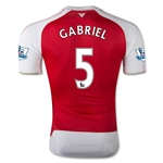 Arsenal 15/16 GABRIEL Authentic Home Soccer Jersey