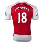 Arsenal 15/16 MONREAL Authentic Home Soccer Jersey