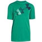 Under Armour Boys Rising Logo Glow-in-the-Dark Tech T-Shirt (Green/Wht)