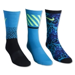 Nike 3 Pack Boy's Graphic Cotton Cushion Sock (Blue)