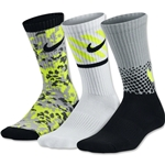 Nike 3 Pack Boy's Graphic Cotton Cushion Sock (Neon Yello)