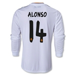 Real Madrid 13/14 ALONSO LS Home Soccer Jersey