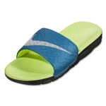 Nike Women's Benassi Solarsoft Slide Sandal (Light Blue Lacquer/Pure Platinum/Black/Volt)