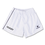 Gilbert Performance Match Rugby Logo Shorts (White)