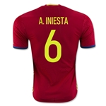 Spain 2016 A. INIESTA Authentic Home Soccer Jersey