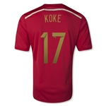 Spain 2014 KOKE 17 Home Soccer Jersey