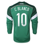 Mexico 2014 C BLANCO Jersey de Futbol Local Mangas Largas