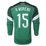 Mexico 2014 H MORENO Jersey de Futbol Local Mangas Largas