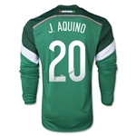 Mexico 2014 J AQUINO Jersey de Futbol Local Mangas Largas
