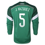 Mexico 2014 J VAZQUEZ Jersey de Futbol Local Mangas Largas