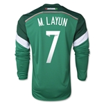 Mexico 2014 M LAYUN Jersey de Futbol Local Mangas Largas