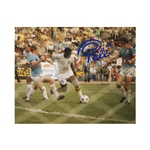 Pele Signed New York Cosmos Action Shot Behind Net 8x10