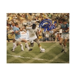 Pele Signed New York Cosmos Action Shot Behind Net 16x20
