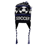 Fleece Lined Soccer Knit Hat (Blk/Royal)