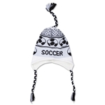 Fleece Lined Soccer Knit Hat (Wh/Bk)