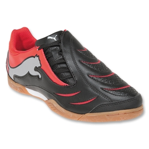 PUMA PowerCat 3.10 Graphic IT KIDS Indoor Soccer Shoes (black/high risk red/puma silver)