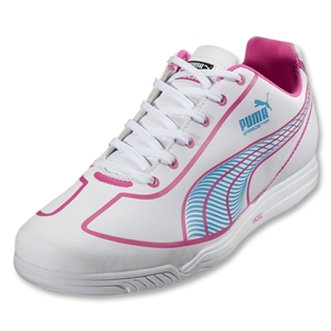 PUMA Women's Speed Star Indoor Soccer Shoes (White/Fluo Pink/Fluo Blue)