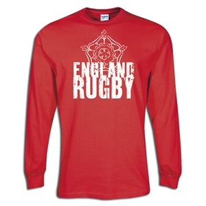 England 2011 LS Distressed Flag Rugby T-Shirt (Red)