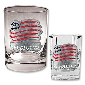 New England Revolution Rocks Glass and Square Shot Glass Set