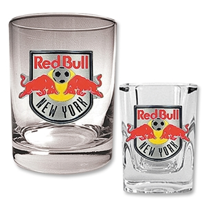 NY Red Bulls Rocks Glass and Square Shot Glass Set
