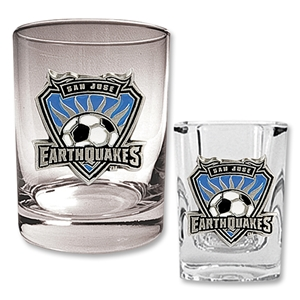San Jose Earthquakes Rocks Glass and Square Shot Glass Set