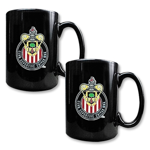 Chivas USA 2 pc Black Ceramic Mug Set