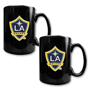 LA Galaxy 2 pc. Black Ceramic Mug Set