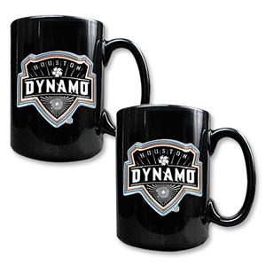 Houston Dynamo 2 pc. Black Ceramic Mug Set
