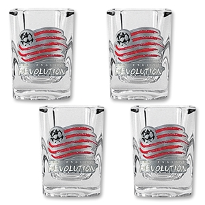New England Revolution 4 pc Square Shot Glass Set
