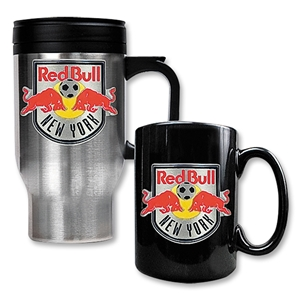 NY Red Bulls Stainless Steel Travel Mug and Black Mug Set