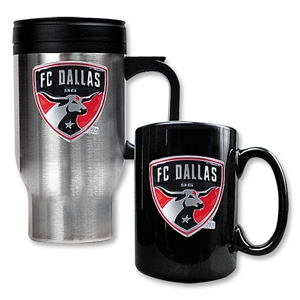 FC Dallas Stainless Steel Travel Mug and Black Ceramic Mug