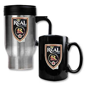 Real Salt Lake Stainless Steel Travel Mug and Black Mug Set