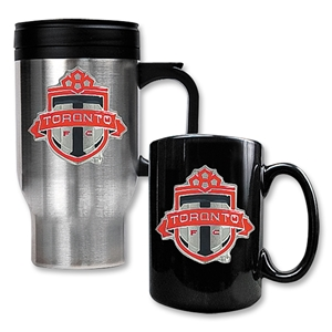 Toronto FC Steel Travel Tumbler and Black Ceramic Mug