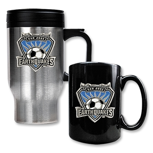 San Jose Earthquakes Travel Tumbler and Black Ceramic Mug