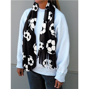 Soccer Ball Fleece Scarf (Black)
