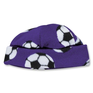 Soccer Ball Fleece Beanie (Purple)