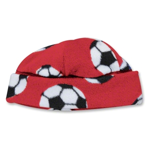 Soccer Ball Fleece Beanie (Red)