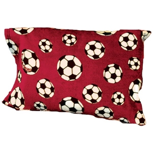 Soccer Ball Fleece Pillow Case (Red)