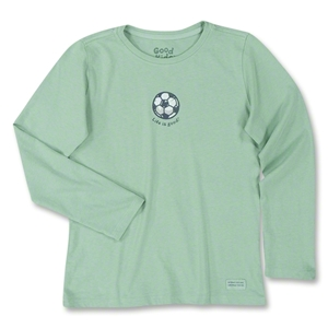 Life is Good Girl's Long Sleeve Crusher Soccer Ball T-Shirt (Grn)