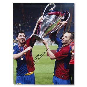 Andres Iniesta Signed Barcelona Winning the 2009 CL Photo