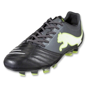 PUMA PowerCat 2.12 FG Cleats (Black/Dark Shadow/White/Lime Punch)