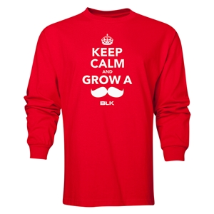 BLK Keep Calm and Grow a Moustache LS T-Shirt (Red)
