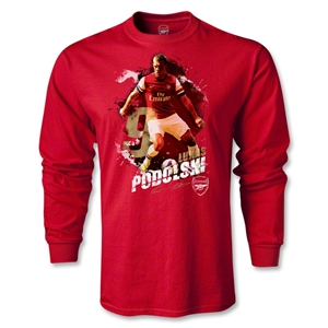 Arsenal Podolski Player LS T-Shirt (Red)